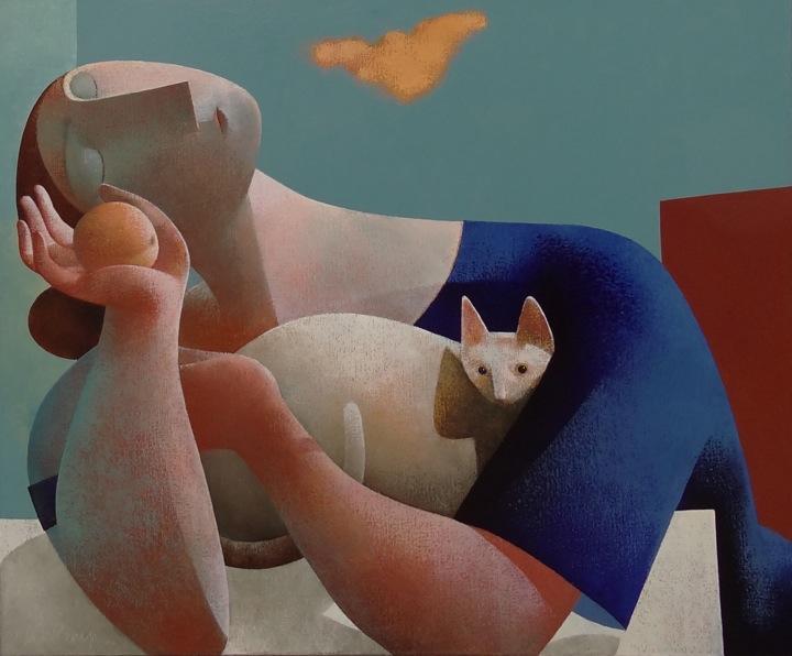 Vrouw met kat en perzik